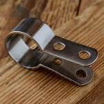 Bremsscharnier / Bremsschelle, für Stempelbremse, verchromt, B=15mm, für 22mm Lenkerrohr