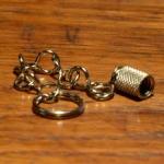 Ventilkappe mit Kettchen, für Dunlopventil (DV), Messing vernickelt