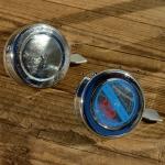 Fahrrad Glocke / Klingel,  klassische Glocke , verchromt mit Metalldrücker, Händlermotiv Aufkleber (leicht entfernbar)
