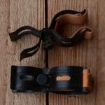 Pumpenhalter mit Ledereinlage, schwarz, mit Federklemmung