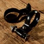 Spitzpumpenhalter, schwarz, mit feststellb. Federklemmung, orig Altbestand 20-50er J., D=27-30mm