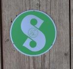 Sachs - Emblem, grün, incl. Alunieten zur Befestigung auf der Polradkappe, D=70mm