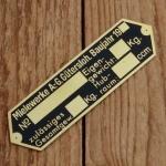 """Typenschild für 98 ccm Fahrgestell """"MIELEWERKE AG"""", schwarz/messing, blanco"""