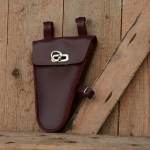 Werkzeugtasche, Leder, rotbraun,  Beschläge vernickelt, passend für viele Herrenfahrradklassiker