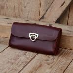 Satteltasche Leder, rotbraun, Standardgröße 155 x 75 x 30mm, Beschläge vernickelt, passend für alle Klassiker