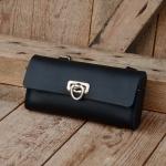 Satteltasche Leder, schwarz, Standardabmessung  155 x 75 x 30mm, Beschläge vernickelt, passend für alle Klassiker
