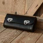 Satteltasche Leder, schwarz, große Ausführung  175 x 85 x 40mm, Beschläge vernickelt, passend für alle Klassiker