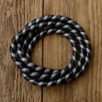 Zierspirale / Bowdenzugummantelung, schwarz-silber, 120cm lang, orig. Altbestand