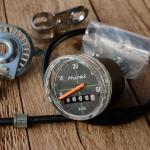 """Tachometer """"HURET"""", 26"""" incl. 615mm Welle, schwarz, mit Antreiber u. allem Zubehör"""