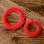 Nabenputzringe flauschig,  rot, für Fahrrad, 2 Stück