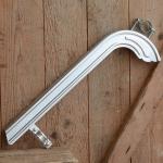 Kettenschutz, silber lackiert, L=40cm, incl. Schelle u. Bandage, orig. 60/70er Jahre Altbestand