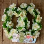 Blumen Girlande, weiss-grün, Kunstfaser, zur Dekoration