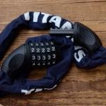 """Kettenschloß, Zahlenschloß """"TITANUS"""", Farbe: dunkelblau / schwarz, Kettenlänge 90cm, Zahlencode frei wählbar"""