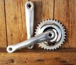"""Kurbelgarnitur, """"SUGINO"""", für Tretlager mit Vierkantachse, hochwertige, geschmiedete Kurbeln 170 mm, poliert, 33 Z."""