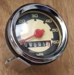 Tachometer mit zweifarbigem Zifferblatt,  typ. Einbautachometer für 50-70er Jahre Mopeds mit Standard ca. 48 mm Durchmesser.