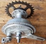 """Trommelbrems - Nabe Hinterrad Moped,""""Sachs"""", 50/60er Jahre, Stahl, silber lackiert, gebraucht, gut erhalten"""