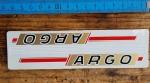 """Aufkleber Schriftzugsatz Unterrohr """"ARGO"""", passend für 60-80er Jahre Fahrräder, orig. alte Neuware, Maße siehe Bild"""