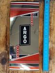 """Aufkleber """"ARGO Luxus"""", Grossistenmarke für Sattelrohr, Chromfolie, passend für 60-80er Jahre Fahrräder, orig. alte Neuware, Maße siehe Bild"""