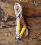 Kabel f. Vorderlicht, transparent, orig. Altbestand, Enden mit Blechhaken, typisches Kabel der 60-70er Jahre