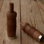Holzgriffe,  genutet, braun gebeizt, mit Dübelklemmung, 25mm, 100mm lang