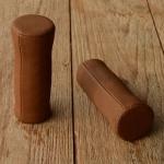 Ledergriffe Ziegenleder antik-braun, 22mm, 100mm lang