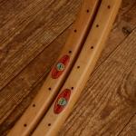 """Holzfelgen Satz f. Schlauchreifen """"Kasten Form"""", 26"""" (584), klar lasiert, 48 Loch, 30mm breit"""