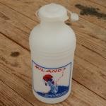"""Trinkflasche """" MILANO SANREMO """", weiss, Kunststoff, orig. Altbestand, NOS"""