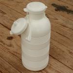 Trinkflasche, ohne Aufdruck, weiß, Kunststoff, mit Brause, orig. Altbestand, NOS