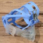 Halter für Trinkflasche, hell blau, Kunststoff, zur Rahmenmontage, incl. 2 Schellen, NOS