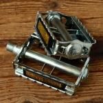 """Pedale Sport """"UNION"""", verchromt/glanzverzinkt, Standard Gewinde 9/16 Zoll (ca 14,2mm),  orig. alte Neuware!"""