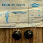 """Stopper / Klemme / Knopf """"REG"""", f. Pedalriemen , schwarz, Kunststoff, orig. alte Neuware 60-80er Jahre !"""