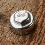 "Pedalkappe, ""KB Kleeblatt"", Innengewinde, verchromt, D_innen=22.5mm D_aussen=24.7mm, orig. alte Neuware"