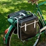 Packtaschen für Fahrrad, schwarz (weiss eingefasst) ,orig Altbestand