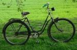 """Damenfahrrad, """"NSU"""", 50er Jahre, schwarz, Linierung grün-gold RH: 54 cm, 28 Zoll, unrestaurierter Originalzustand"""