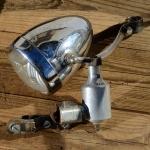 """Lichtanlage """"MIELE / Lohmann"""", 50er Jahre, verchromtes Gehäuse, Dyn. Anbau rechts, incl. Halter, gebraucht"""