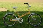 """Fahrrad /  Klapprad """"INDUS KOMBI"""", 70/80er Jahre , gelb, Originalzustand, F+S Duomatic 2Gang Schaltnabe, Trommelbremse"""