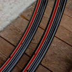 "Felgen Satz 26"" x 1,75 (559) f. Drahtbereif., Stahl schwarz, 36 Loch, 36mm breit, Nippelbohrung 4,5mm, rot weiss liniert, Altbestand"