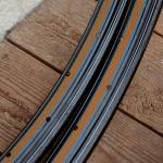 """Felgen Satz 26"""" x 1,75 (559) Stahl schwarz, f. Drahtbereif., 36 Loch, 36mm breit, Bohrung 4,5mm, hellbraun blau weiss liniert,"""