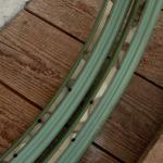 "Felgen Satz 26"" x 1,75 (559) Stahl Grün, 36 Loch, f. Drahtbereif., 36mm breit, Nippelbohrung 4,5mm, gold geflammt liniert,"