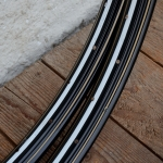 """Felgen Satz 26"""" x 1,75 (559) Stahl schwarz, 36 Loch, f. Drahtbereif., 36mm breit, Nippelbohrung 4,5mm, weiss gold  liniert,"""