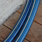 "Felgen Satz 26"" x 1,75 (559) Stahl blau, 36 Loch, f. Drahtbereif., 36mm breit, Nippelbohrung 4,5mm, silber weiss liniert,"