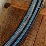 """Felgen Satz Wulst 26"""" x 1 1/2  Stahl schwarz, Linierung blau-weiss, 36/36 Loch, 33mm breit, Nippelbohrung 4,5mm"""