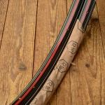 """Felgen Satz Draht 28"""" x 1,75 (622)  Stahl schwarz, Linierung rot-weiss, 36/36 Loch, 35mm breit, Nippelbohrung 4,5mm, NOS"""