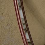 "Fahrradfelge, 28"" x 1.75, (622), dunkelrot (""Ochsenblut""), Linierung gold geflammt, orig. 30-50er Jahre, 36 Loch, 35mm breit aussen"
