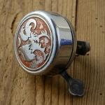 """Fahrrad Klingel  """"HAHN"""", orig. 50er Jahre, verchromt, incl. Unterteil, mit Patina / Gebrauchsspuren, siehe Bilder"""