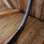 """Fahrradfelge f. Wulstbereifung, 26"""" x 1 1/2 (584), Stahl, schwarz blau-weiss liniert, orig. 30-50er Jahre, 36 Loch , 33mm breit"""