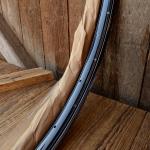 """Fahrradfelgen Satz f. Wulstbereifung, 26"""" x 1 1/2 (584), Stahl, schwarz blau-weiss liniert, orig. 30-50er Jahre, 36 Loch , 33mm breit"""