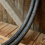 """Fahrradfelgen Satz f. Wulstbereifung, 28"""" x 1 1/2  Stahl, schwarz blau-weiss liniert, orig. 30-50er Jahre, 36 Loch , 33mm breit"""
