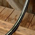 "Fahrradfelge f. Wulstbereifung, 28"" x 1 1/2 (635), Stahl, schwarz grün-weiss gefl. liniert, Nippelbohrung 5.7mm !!!"
