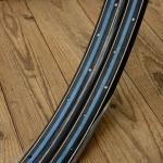 """Fahrradfelgen Satz f. Wulstbereifung, 28"""" x 1 1/2 (635), Stahl, schwarz/blau, orig. 20-30er Jahre, 36 Loch, 34mm breit"""